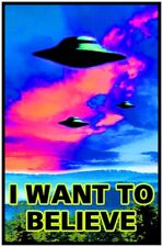 I WANT TO BELIEVE - BLACKLIGHT POSTER - 23X35 FLOCKED ALIENS UFO 53966