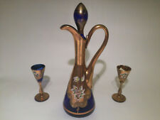 Vintage 1960's decanter and 2 glasses hand painted, moser style