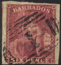 Barbados 1857 6d Sixpence sg 11 Pale rose red Britannia used Bridgetown