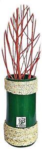 "7"" Vase Bamboo Cylinder Multipurpose Organizer, Green Wooden Vase With Rope"