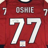 Autographed/Signed TJ T.J. OSHIE Washington Custom Red Hockey Jersey Beckett COA