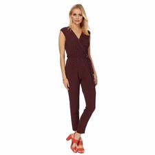 Principles Ben de Lisi Dark Red/Navy Leaf Print Jumpsuit Size UK 10 DH172 NN 04