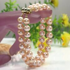 Genuine 3 row strands 8-9mm natural freshwater pink pearl  bracelet 7.5""