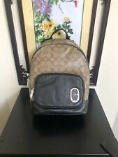 NWT Coach Court Backpack In Signature Canvas With Coach Patch Khaki/black