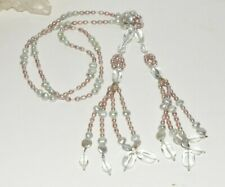 Long Sterling Silver Blush & Grey Freshwater Pearl Crystal Lariat Necklace