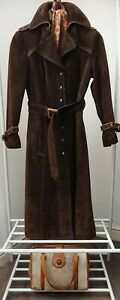 Vintage 1970s Brown Distressed Belted Leather Suede Full Length Coat Size S.
