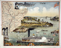 1895 Map of southern states Mississippi River Steamboat repro Wall Poster Print