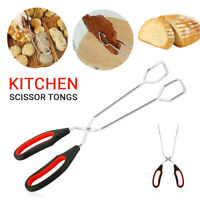 BBQ Serving Tongs Stainless Steel Scissor Style Salad Dining Kitchen Utensil US