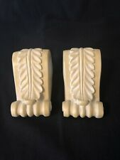 Pair of Curtain Drapery Rod Holders Stone-Look Ceramic Swag Scarf Resin Ivory