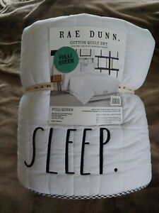 NWT Rae Dunn SLEEP Full Queen Size Quilt Set w/ 2 Standard Shams