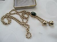 VINTAGE SARAH COV GOLD COSTUME PULL THROUGH BALL CHAIN NECKLACE,GREEN PENDANT