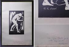 bella litografia nudo uomo donna amore numerata e firmata Cesare Calzari Crema