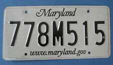 Maryland license plate with www.maryland.gov