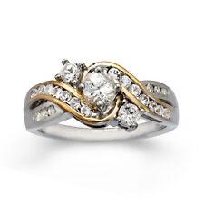 14KT GOLD & SS WHITE SAPPHIRE 3 STONE WEDDING ANNIVERSARY  ENGAGEMENT RING SZ 7