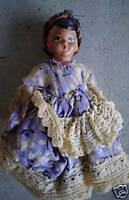 """Small Vintage Composition Ethnic Girl Doll 6"""" Tall"""