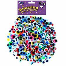 400 Auto Adhesivo Wiggle Wiggly pelotas ojos pegajosos tipos y tamaños surtidos