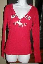Abercrombie Women M LS Raspberry T-Shirt NEW/tags Was $40 LG Moose Icon,