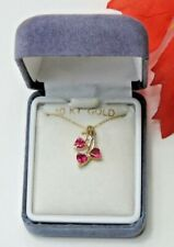 10k Yellow Gold Lab Created Ruby & Diamond Accent 3 Heart Pendant Necklace