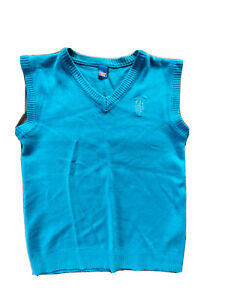 V neck vest waistcoat jumper sleeveless boys 10 years beautiful turquoise blue