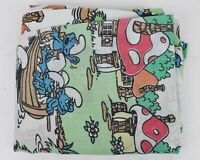 Vintage Smurf's Cartoon Smurfland Graphic Twin Size Fitted Sheet Made in USA