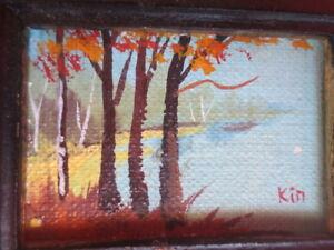 vintage MINIATURE DOLLHOUSE oil painting landscape picture 1:12