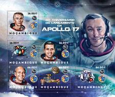 NASA APOLLO 17 Astronauts & Moon Landing Space Stamp Sheet (2012 Mozambique)