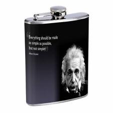 Einstein Simple Em1 Flask 8oz Stainless Steel Hip Drinking Whiskey