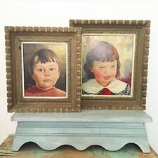 Vintage Portrait Painting Lot Children Mid-Century little Boy Girl Oil Unsigned