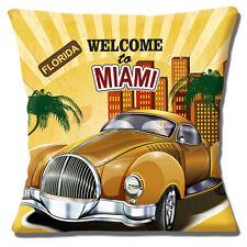 Bienvenido a Miami Funda de cojín 40.6x40.6cm 40cm FLORIDA Vintage Retro Coche