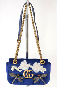 Gucci blue velvet leather bead dragonfly floral shoulder handbag purse NEW $3900
