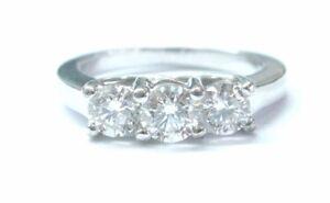Fine Round Cut Diamond 3-Stone Engagement White Gold Ring 1.00CT