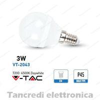Lampadina led V-TAC 3W = 25W E14 bianco naturale 4500K VT-2043 minigolobo P45