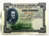 Spain-Billete. Felipe II. 100 Pesetas 1925. Madrid. Serie D. EBC/XF