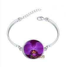 Purple Orchid Bracelet Photo Glass Cabochon Tibet silver Bracelets