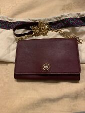 Tory Burch Wallet On Chain Cross Body Bag Burgundy With Gold Chain
