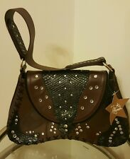 Hot In Hollywood  Leather Handbag with Stitch, Studs, and Croco Embossed Details