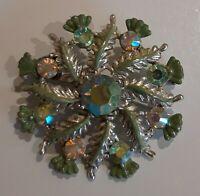 Vintage Costume Aurora Borealis Green Glass and enamel silver Tone Brooch