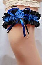 Braut Strumpfband XXL bis 80 cm schwarz royal-blau mit Rose aus Satin Hochzeit