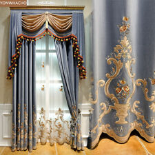 European embroidered grey blue velvet cloth blackout curtain valance drape B650