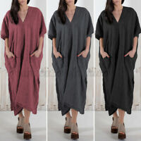 Women V Neck Batwing Sleeve Summer Party Beach Dresses Plus Size Maxi Long Dress