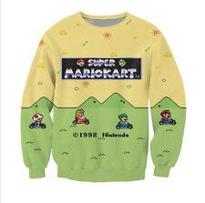 New Fashion Mens/Womens Cartoon Super Mario Kart 3D Print Sweatshirt UKS24