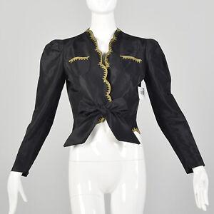 XS 1940s Jacket Black Taffeta Tie Waist Scallop Edge Gold  Embroidery 40s VTG