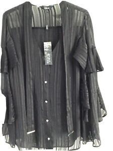 Ladies Black Blouse. Size14. New With Tags. Star@julien Macdonald.