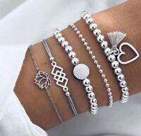 Women Jewelry Punk Bracelet  Beads Boho Fashion Chain Heart  Bracelet Gift 5PCS