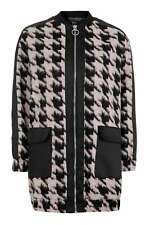TOPSHOP - BLACK / PINK HAIRY DOGTOOTH URBAN COAT - SIZE 10 - BNWT.