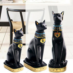 Egyptian Cat Resin Statue Handcrafted Cats Sculpture Decoration Ancient Exotic