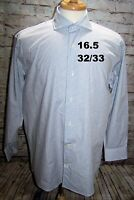 Isaac Mizrahi Men's Shirt Long Sleeve Office Casual Slim Fit 16.5-32/33 Blue