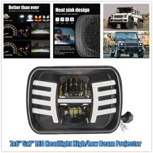 "7x6"" 5x7"" Car LED Square Headlight DRL Turn Signal Light Spotlight White & Amber"