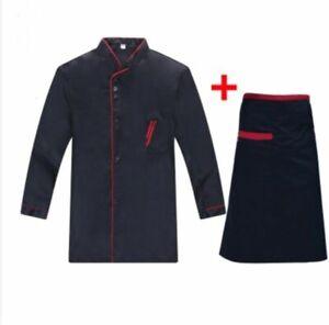 Chef Jacket Long Sleeve Chef Jacket Coat Apron Cook Hotel Uniform for Men Women