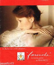 PUBLICITE ADVERTISING 065  1975  NINA RICCI parfum FAROUCHE D. HAMILTON